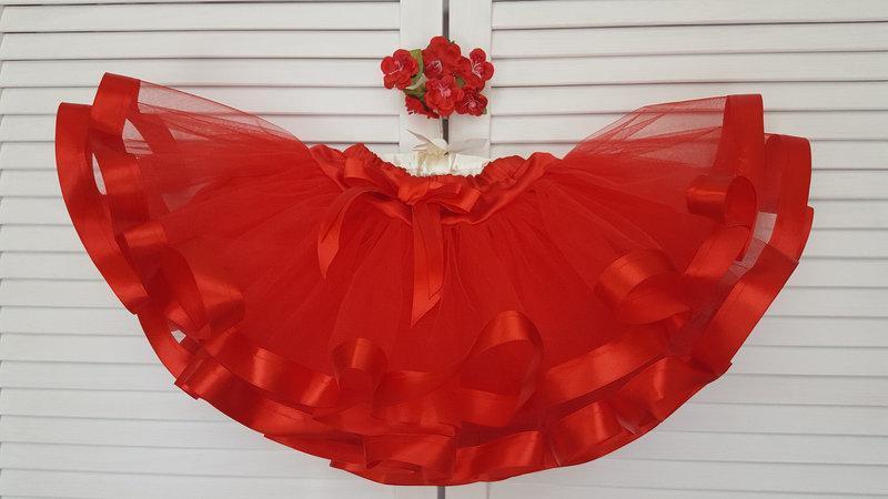 Красная фатинова юбка-пачка   для девочек