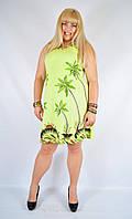 Уценка! Платье салатовое с пальмами, роспись - ручная работа, до 52 р-ра