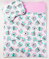 Летний комплект в кроватку  BabySoon Совушки  одеяло 65 х 75 см  и подушка 22 х 26 см, фото 1
