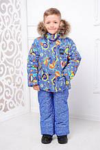 Зимняя куртка и комбинезон  для мальчиков Машинки