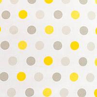 Детская простынь на резинке в кроватку хлопок Горох серый и желтый 120 х 60 см