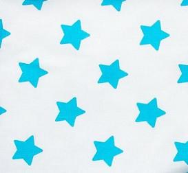 Простынь на резинке в коляску   Бирюзовые звезды на белом 80 х 40 см