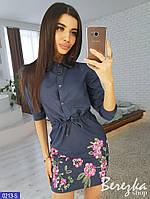Джинсовое платье с вышивкой, фото 1