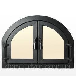 """Дверцы Печные чугунные со стеклом """" Двойные""""для печи,барбекю,сауны.Актуальная цена"""