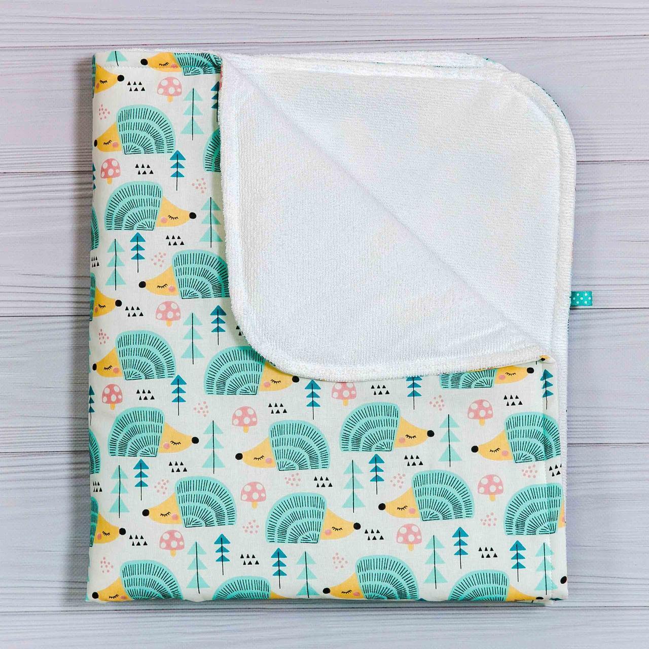 Непромокаемая пеленка   Мятные ежики 70 х 80 см