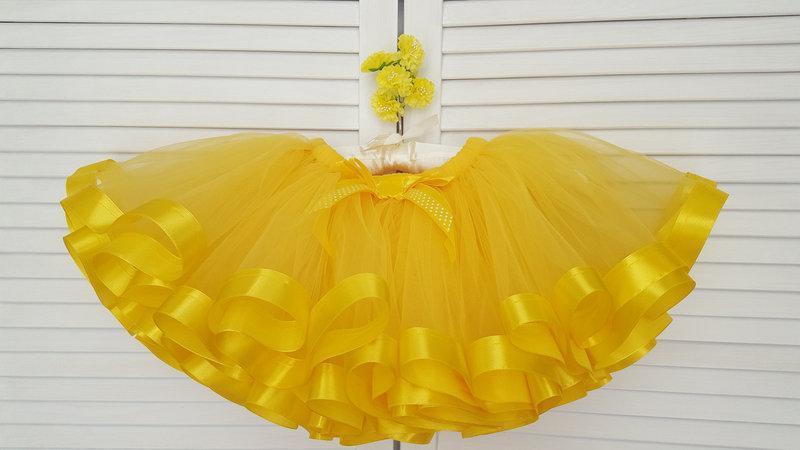 Фатиновая желтая юбка-пачка с атласными лентами   для девочки