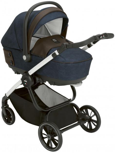 Детская коляска универсальная 3 в 1 Cam Techno Soul на белой раме Синяя  (805T/V97/980/724K)