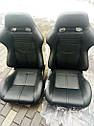 Спортивное сиденье R-LOOK II (Черное, Эко-кожа + Велюр), фото 3