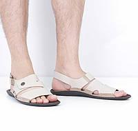 Кожаные бежевые сандалии (лето), 44 размер, код UT79639