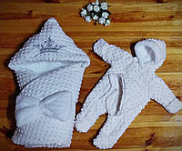 Зимний  конверт - одеяло, шапочка и комбинезон для новорожденных, фото 1