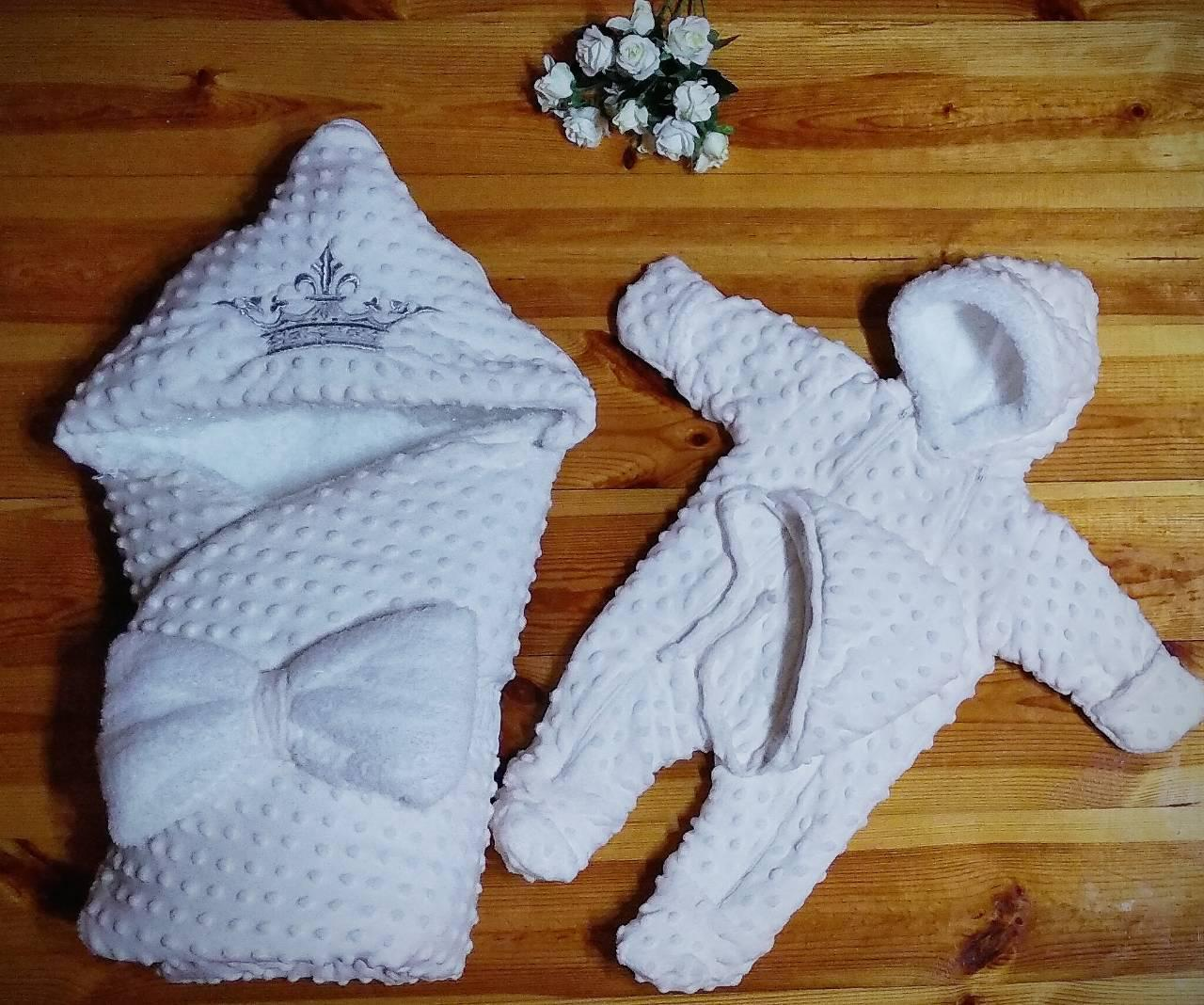 Зимний  конверт - одеяло, шапочка и комбинезон для новорожденных