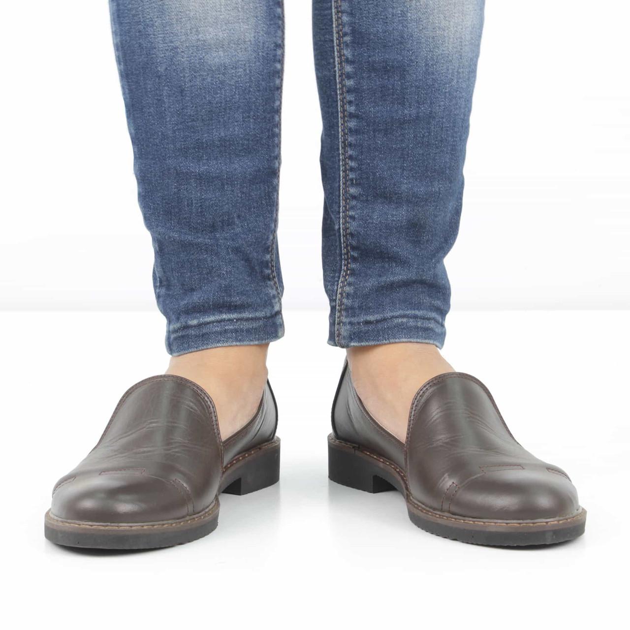 5324e28e4 Кожаные темно-коричневые туфли на низком каблуке (весна-осень), 37 размер  ...