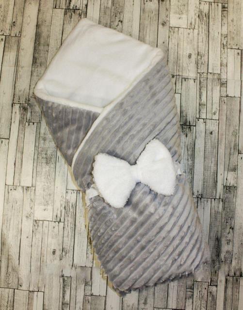 Плюшевый зимний конверт одеяло для новорожденных 100х80см