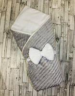 Плюшевый зимний конверт одеяло для новорожденных 100х80см, фото 1