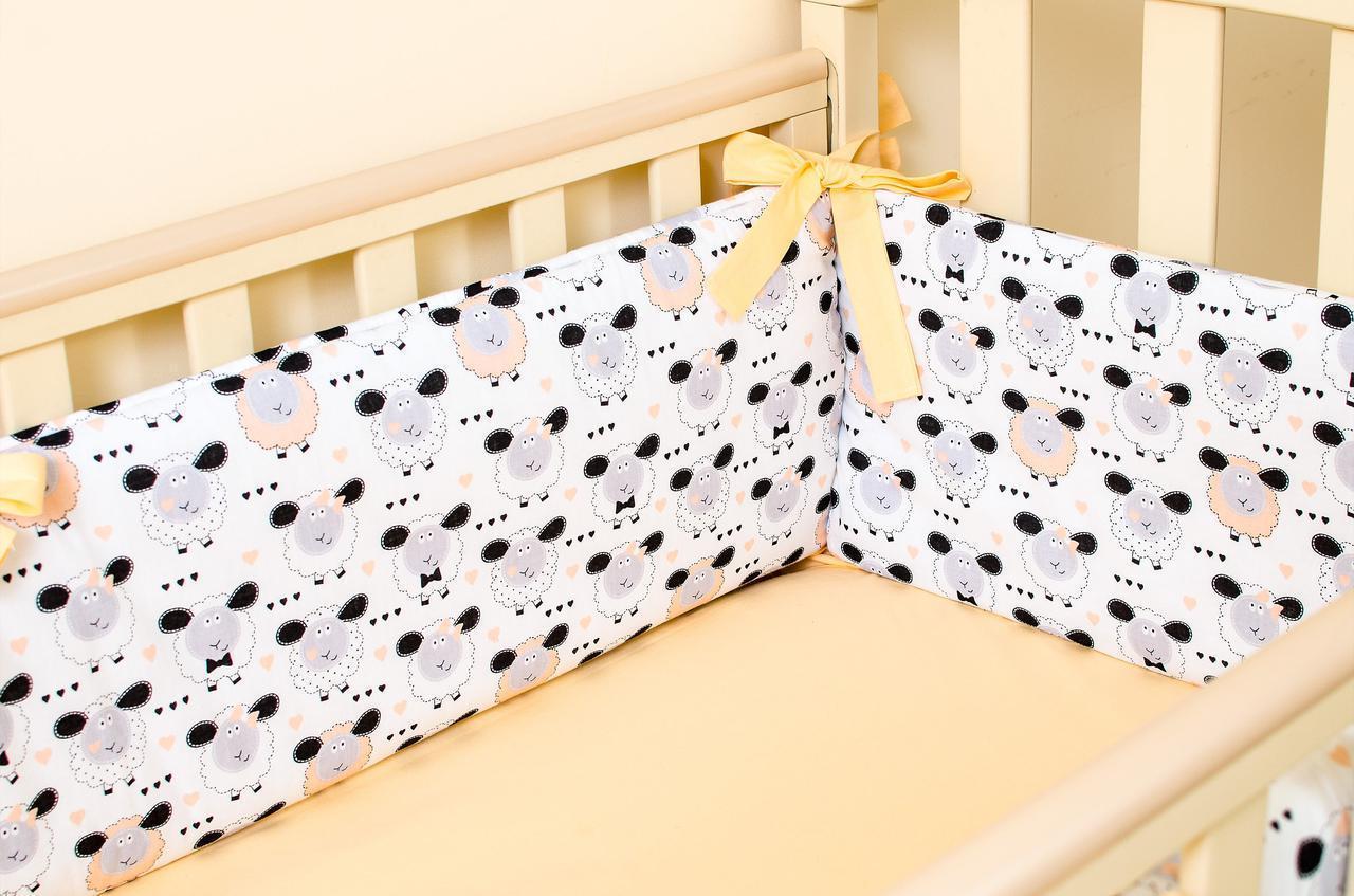 Бортики в детскую кроватку+простынь на резинке Персиковые барашки   360смх27см простынь 60смх120см(532)