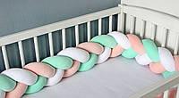 Бортик в манеж (кроватку)  Косичка Оранжево-Белая с Мятным