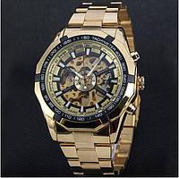 Часы с автоподзаводом Winner Skeleton, Gold, фото 1