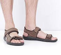 Кожаные коричневые сандалии (лето), 42 размер, код UT79115