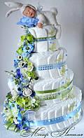 """Великий торт з памперсів """"Білий пухнастик"""" з зайчиком Анна Геддес 130 штук"""