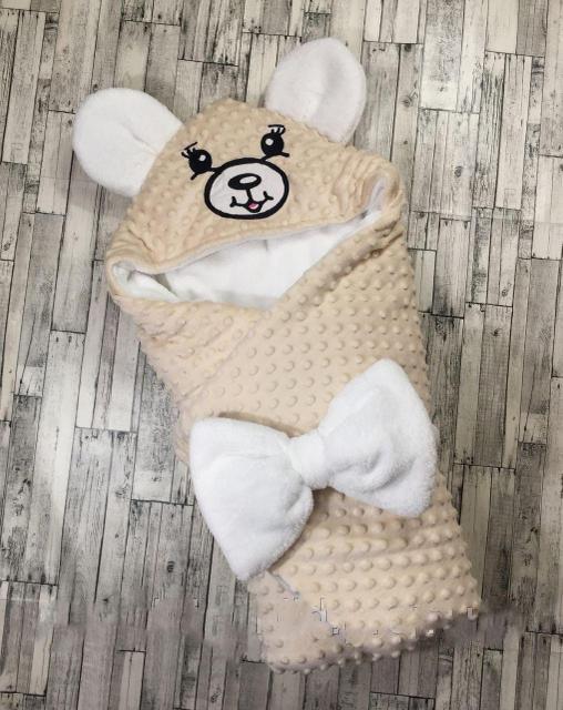 Конверт-одеяло Мишка  зимний,   для новорожденных, 78х78 см