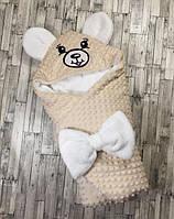 Конверт-одеяло Мишка  зимний,   для новорожденных, 78х78 см , фото 1
