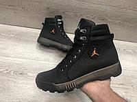 Кожаные  ботинки  в стиле Jordan на меху , фото 1