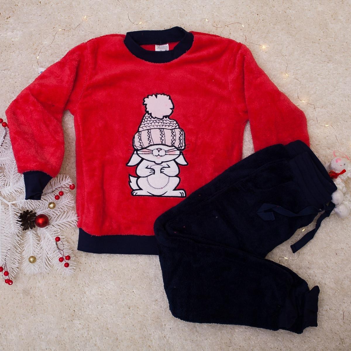 Теплая пижама  для девочек с зайчиком   Nicoletta 85826