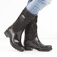 Натуральные черные резиновые сапоги на низком каблуке (весна-осень), 41 размер, код UT81697