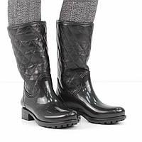 Натуральные черные резиновые сапоги на низком каблуке (весна-осень), 41 размер, код UT81698