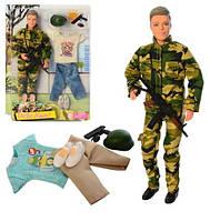 Кукла DEFA 8412 Кен 30см Военный (шарнир, одежда, оружие)