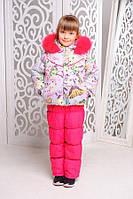Красивая зимняя куртка  и полукомбинезон Бабочки  для девочки