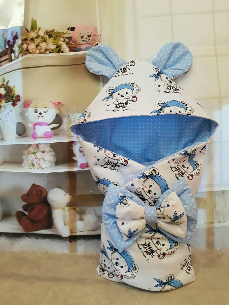 """Конверт на выписку """"Мишки"""", конверт- одеяло для новорожденного весна/осень"""