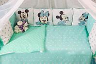 Комплект детского постельного белья в кроватку Микки  с бортиками, фото 1