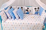 Комплект детского постельного белья в кроватку Микки  с бортиками, фото 5