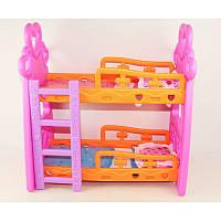 Двухъярусная кроватка с бельем  для пупсов и кукол  3389