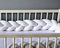 Бортик- косичка в кроватку  Белый