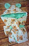 Демисезонный конверт на выписку Мишки, конверт- одеяло для новорожденного весна/лето/осень, фото 2