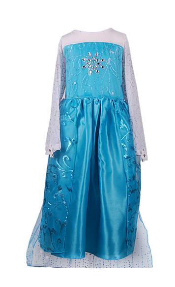 Платье Эльзы для девочки со звездой на груди и шлейфом