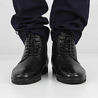Кожаные черные полусапожки (зима), 39 размер, код UT80933