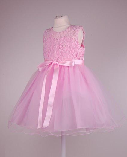 Розовое   нарядное  детское платье с пышной юбкой