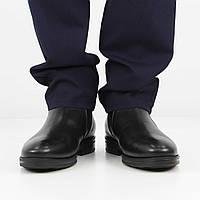 Кожаные черные полусапожки (зима), 44 размер, код UT80989