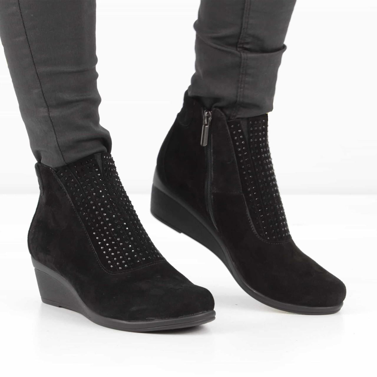 4d20ca8a Замшевые черные ботинки на танкетке (весна-осень), 36 размер, код UT81123