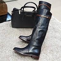 Ботфорти чоботи жіночі зимові з натуральної шкіри і натурального хутра на підборах чорні