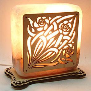 Соляной светильник квадрат узор 15