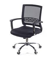Кресло офисное на колесиках Рокко CH TILT черного цвета из ткани