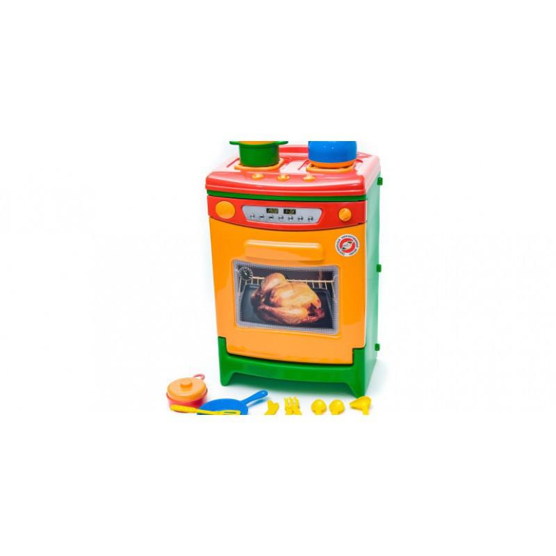 Детская игрушечная печка с духовкой  и посудкой со звуковыми эффектами Орион