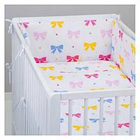 Комплект в кроватку для девочек  11 предметов  Бантики