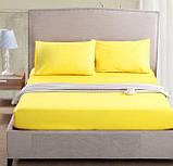 Комплект однотонного  постельного белья желтый, семейный, фото 2