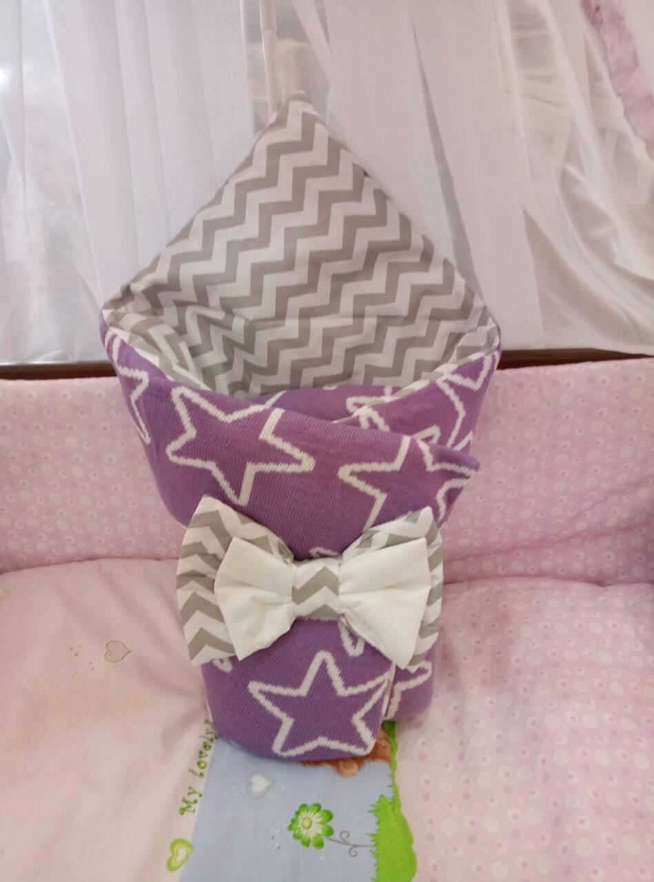 Двухсторонний вязаный конверт-одеяло  для новорожденных 100х80см