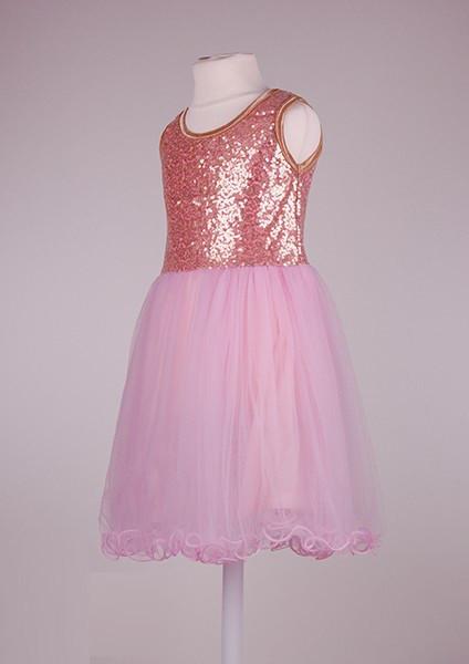 Нежно розовое  платье с пайетками  для девочек 2-7 лет